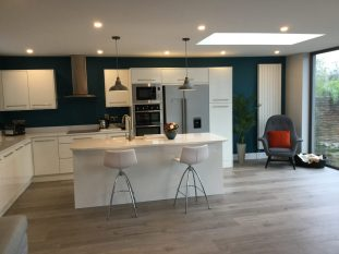 Kitchen extension- white contemporary and pop of orange