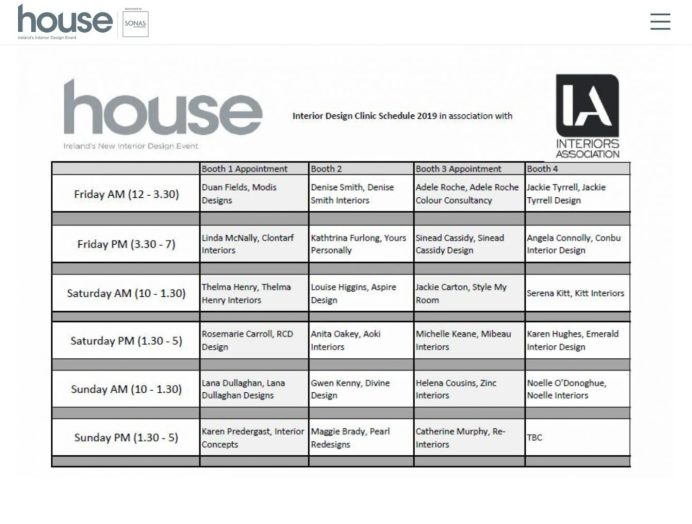 RDS HOUSE 2019- IA -Design Clinic schedule