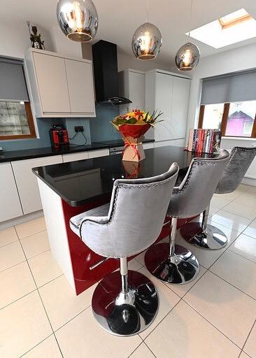 Kitchen design - with grey velvet stools