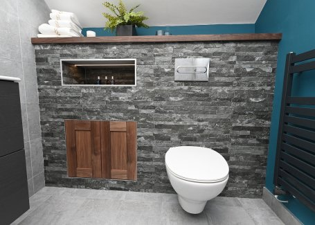 Attic bathroom design with concealed cistern & feature shelf