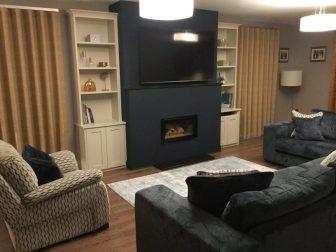 Living room design- hague blue fireplace