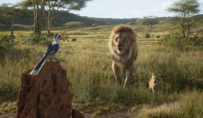 John Oliver as Zazu, James Earl Jones as Mufasa and JD McCrarry as Simba the cubs in The Lion King (2019)