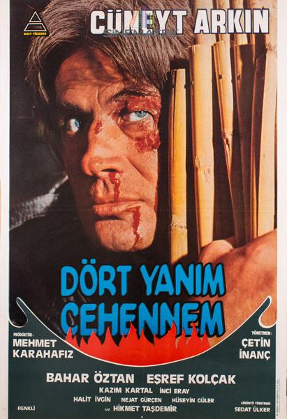 Yönetmen Çetin İnanç ile büyük sanatçı Cüneyt Arkın'ın iş birliğinin bir örneği, Dört Yanım Cehennem