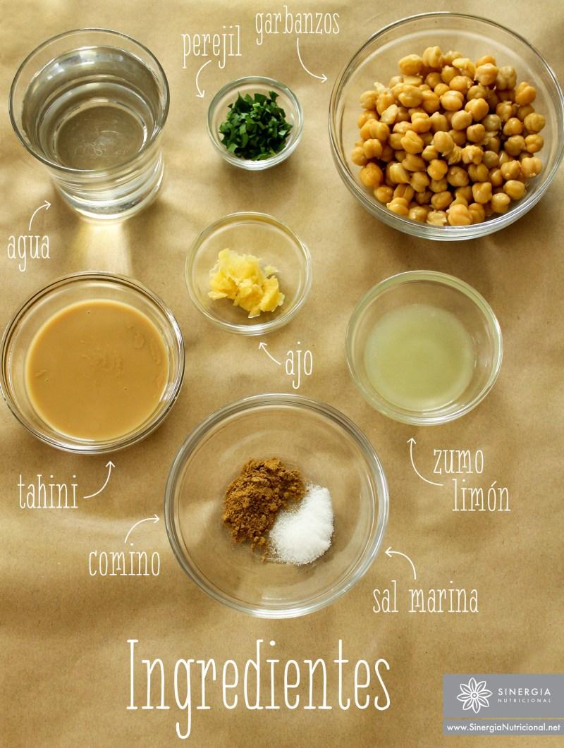 Ingredientes de hummus bajo en grasa