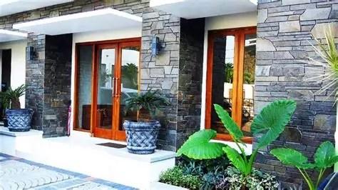 percantik dinding eksterior rumah batu alam