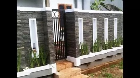 desain pagar rumah minimalis motif batu alam