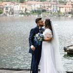 Bride and Groom on Como lake