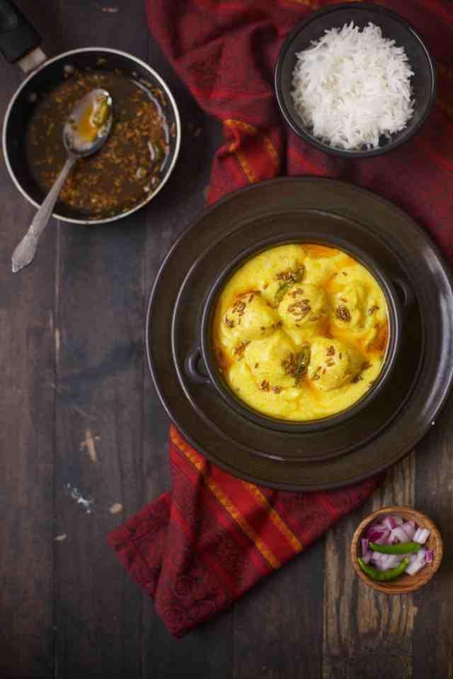 Kadhi Pakora - Chickpea fritters in yogurt gravy , (glutenfree) Sinfully Spicy
