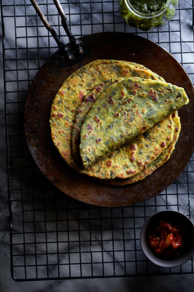 Sinfully Spicy : Methi Paratha (Skillet Fried Fenugreek Leaves Flatbread)