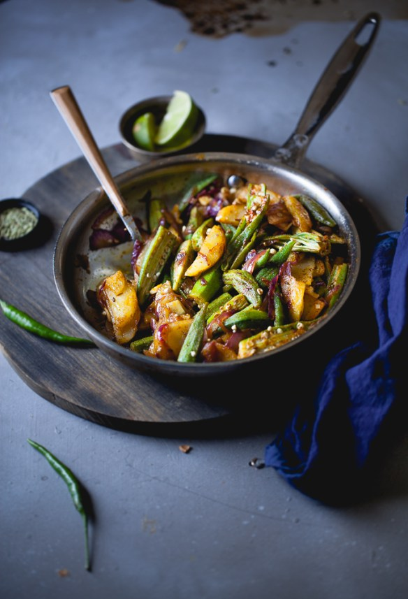 Sinfully Spicy : Bhindi Aloo (Spiced Potatoes & Okra)