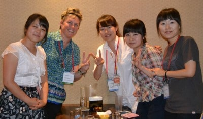 Singapore Math teacher, trainer and consultant Cassandra Turner with Teachers at ICME-12