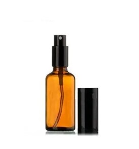 30ml Amber Glass Spray Bottle with black spray cap (1 Oz)