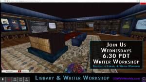 6:30pm PT WRITER WORKSHOP on 3DWebWorldz.com @ https://3dwebworldz.com