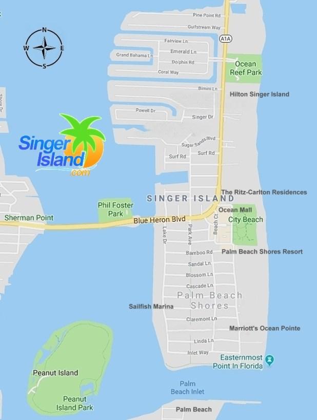 Map of Singer Island Florida   Singer Island Map   SingerIsland.com