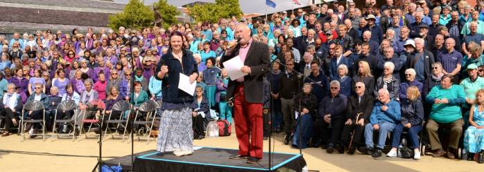 Sing for Water Cardiff 2015 - MCs Sue Ellar and Frank Hennessey