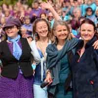 The Sing for Water Cardiff Team - left to right Laura Bradshaw, Celia Webb, Pauline Down, Sue Ellar
