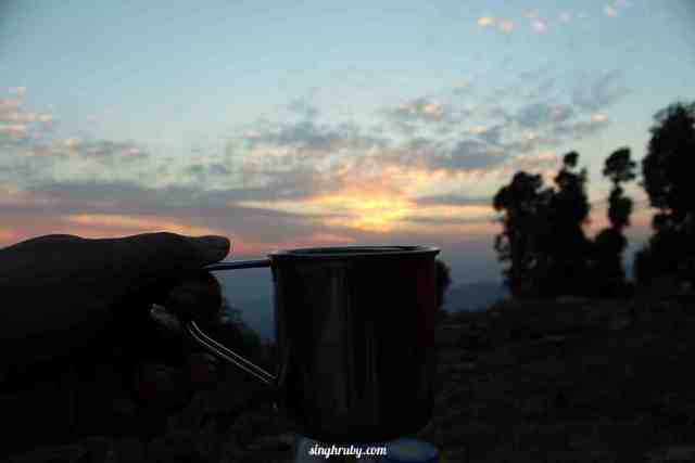 Tea and the most amaing sunset ever
