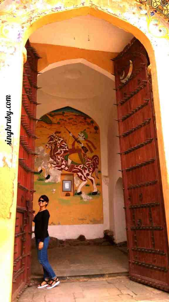 Huge doors at Neemrana Fort Palace