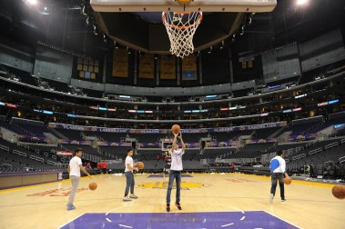 Jr NBA All Stars shooting on the LA Lakers court at Staples Center