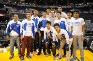 LA Lakers Steve Nash with the Jr NBA All Star Team and Coach of the Year
