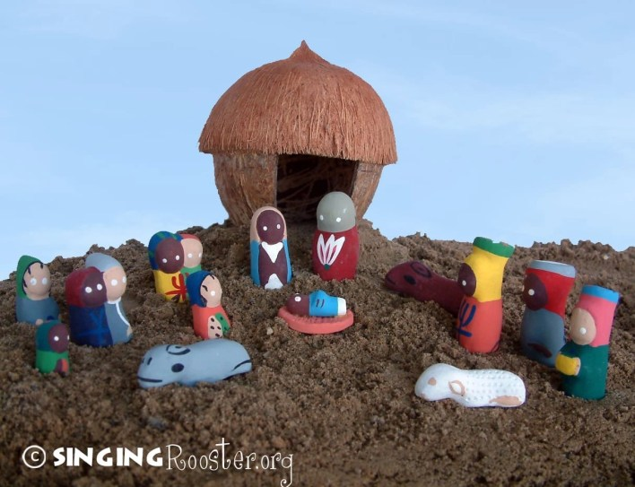 Haitian art, folk art, coconut manger