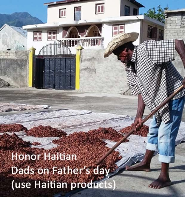 Haitian coffee sale, singing rooster, Father's Day