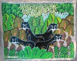 Haitian Painting Jungle Cats