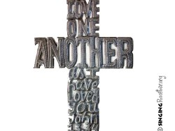 Love One Another word art cross, Singing Rooster Haiti