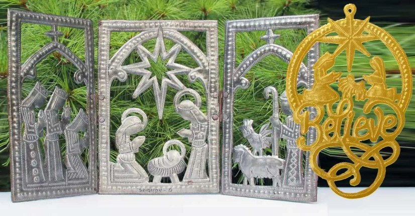 triptych metal nativity