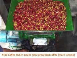 Hulling coffee cherries
