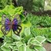 purple orange butterfly garden stake, Haiti
