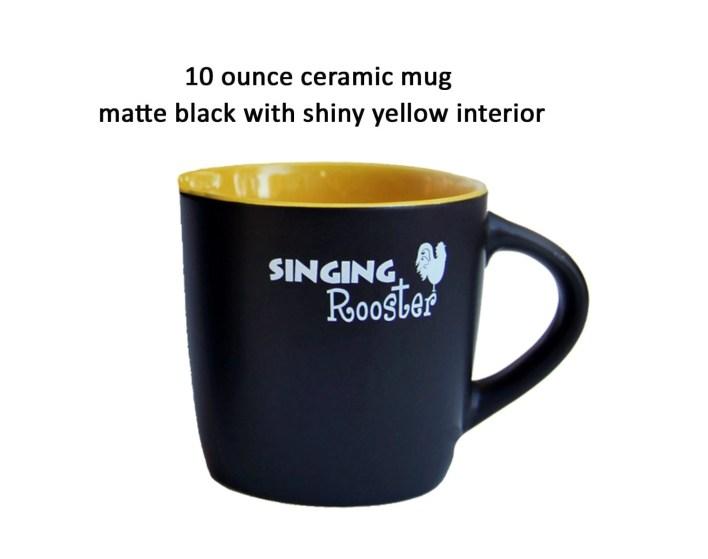 singing rooster coffee mug