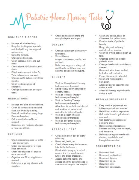 Pediatric Home Nursing Tasks