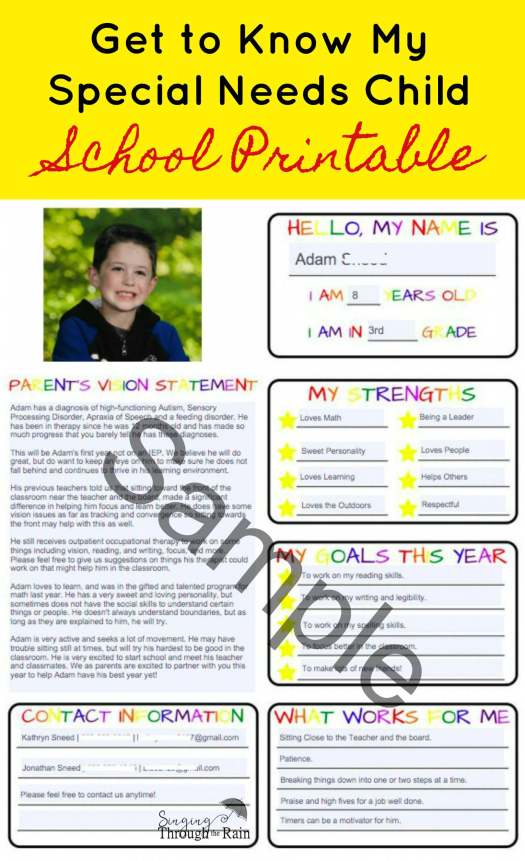 Get to Know My Child School Printable