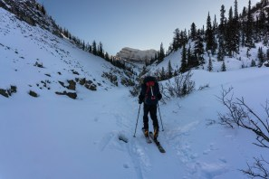 Heading up the canyon just past Bow Falls, Vulture Peak in the distance.