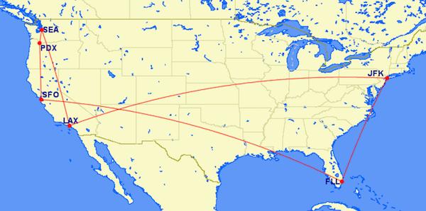 Virgin America Mileage run