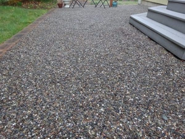 Concrete alternative gravel patio