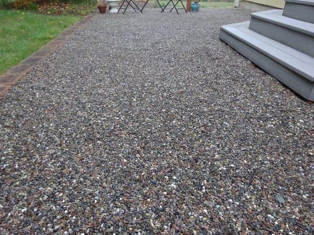 Concrete alternative gravel patio