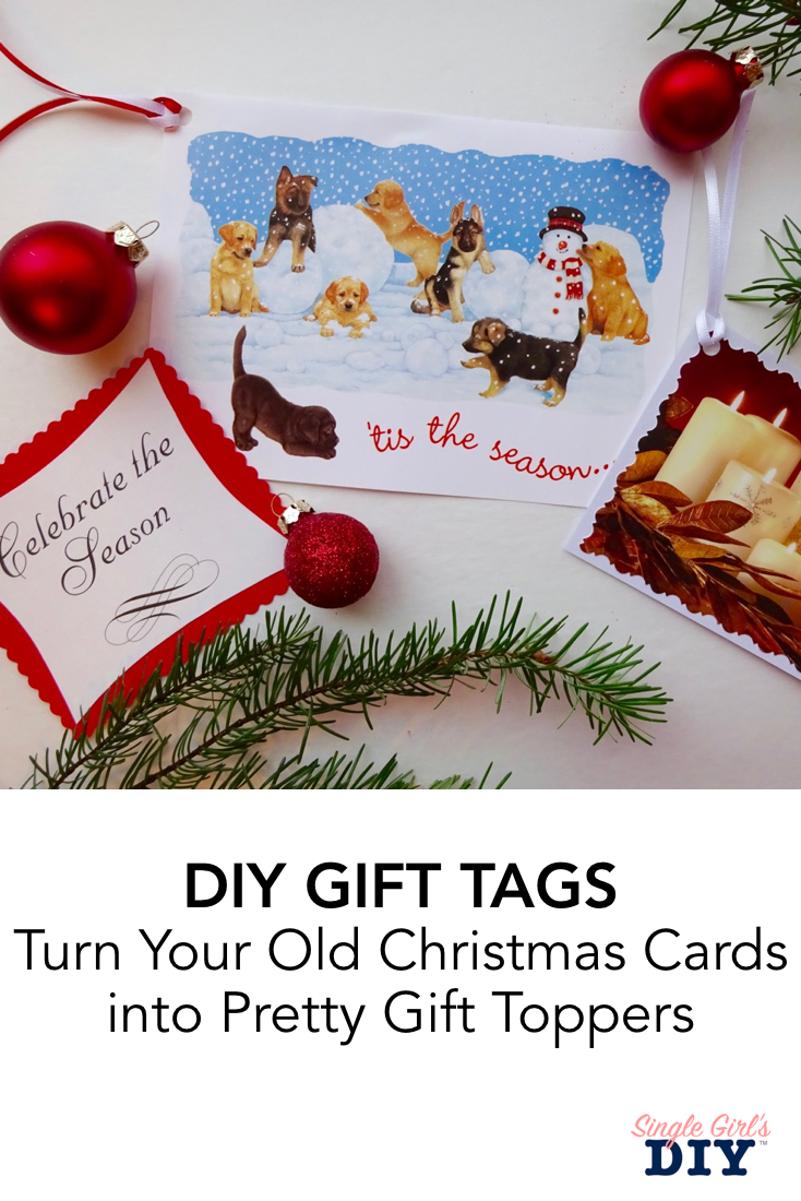 DIY gift tags from old Christmas tags