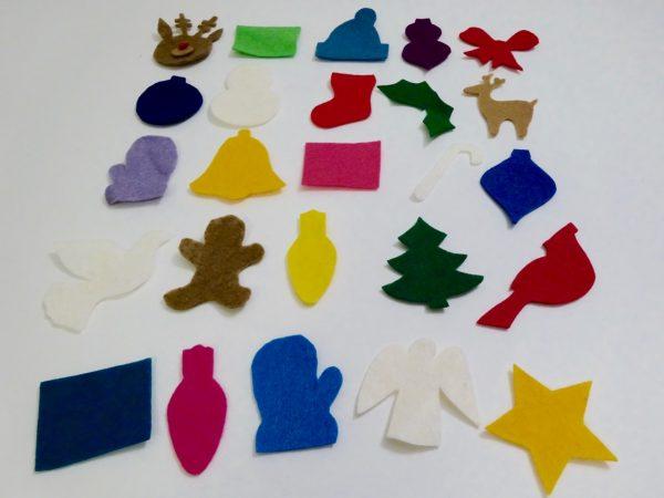 Cut felt advent pieces