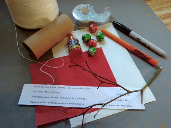 Materials to make snowman crackers