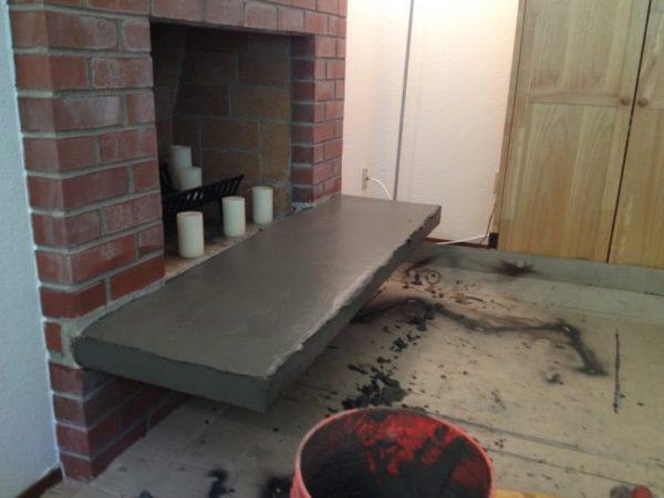Concrete skimcoat hearth update
