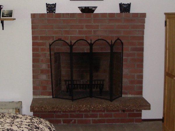 old brick fireplace