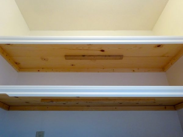 wood shelves using furring strips