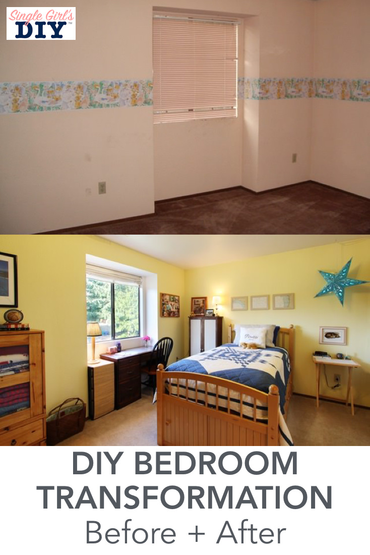 DIY bedroom transformation before and after