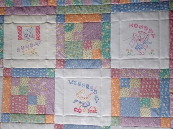 Days of the week embroidered quilt