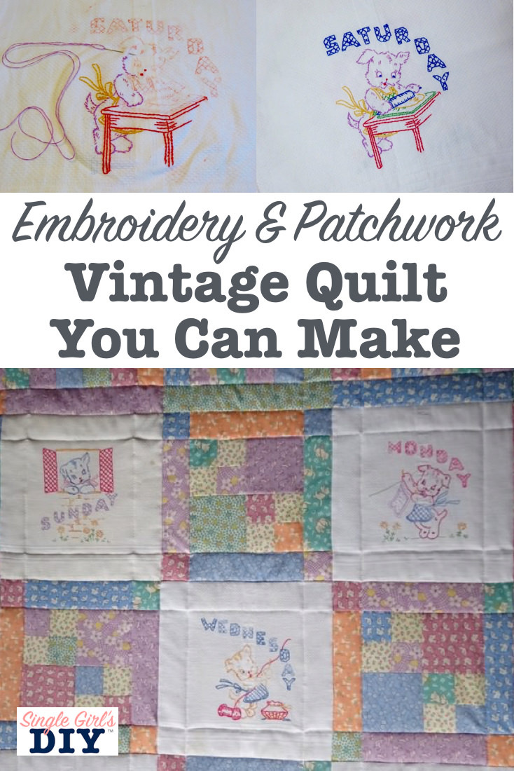 Embroidery and patchwork vintage quilt you can make
