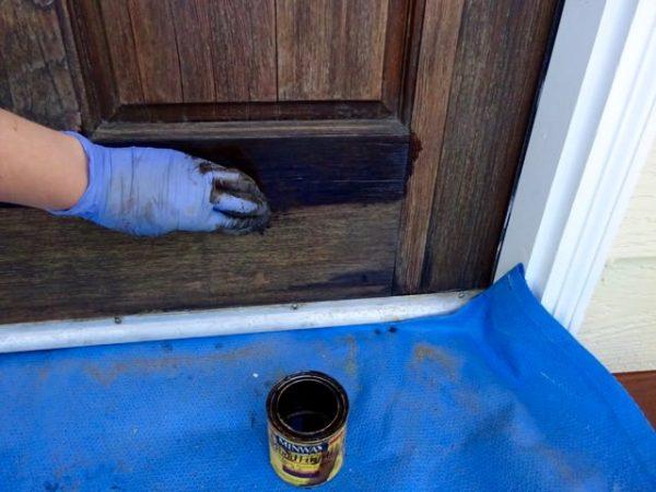 Stain a solid wood door