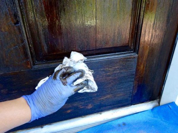 Staining a wood door