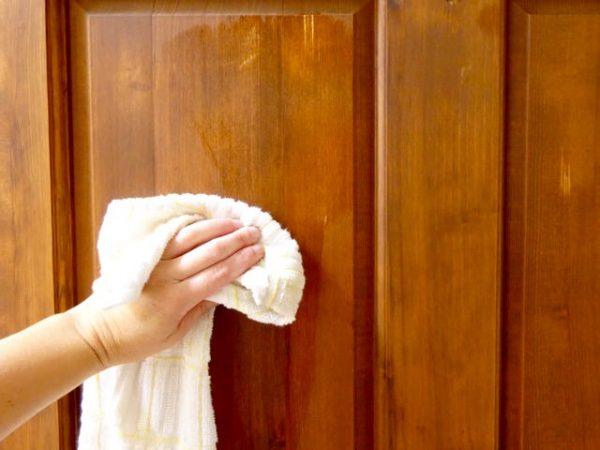 Treat a wood door with preservative
